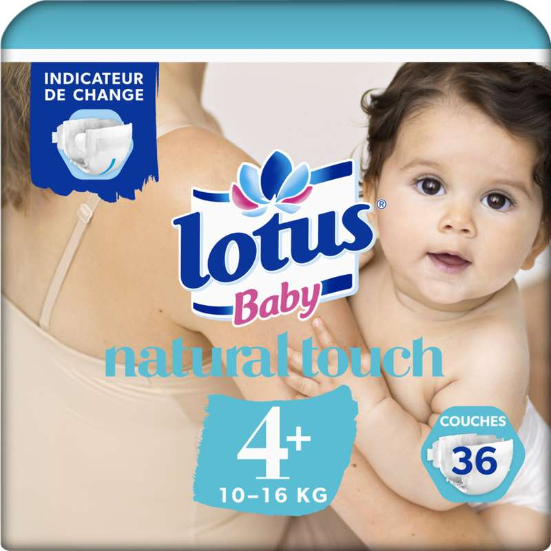 Couches natural touch T4+ / 10-16 kg, Lotus Baby (x 36)