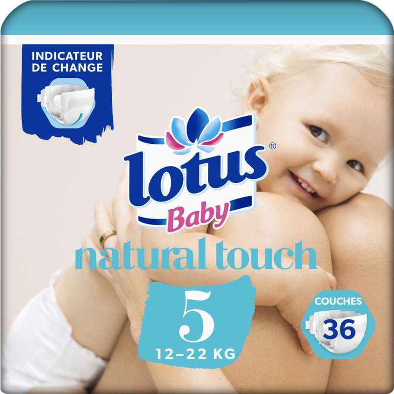 Couches natural touch T5 / 12-22 kg, Lotus Baby (x 36)