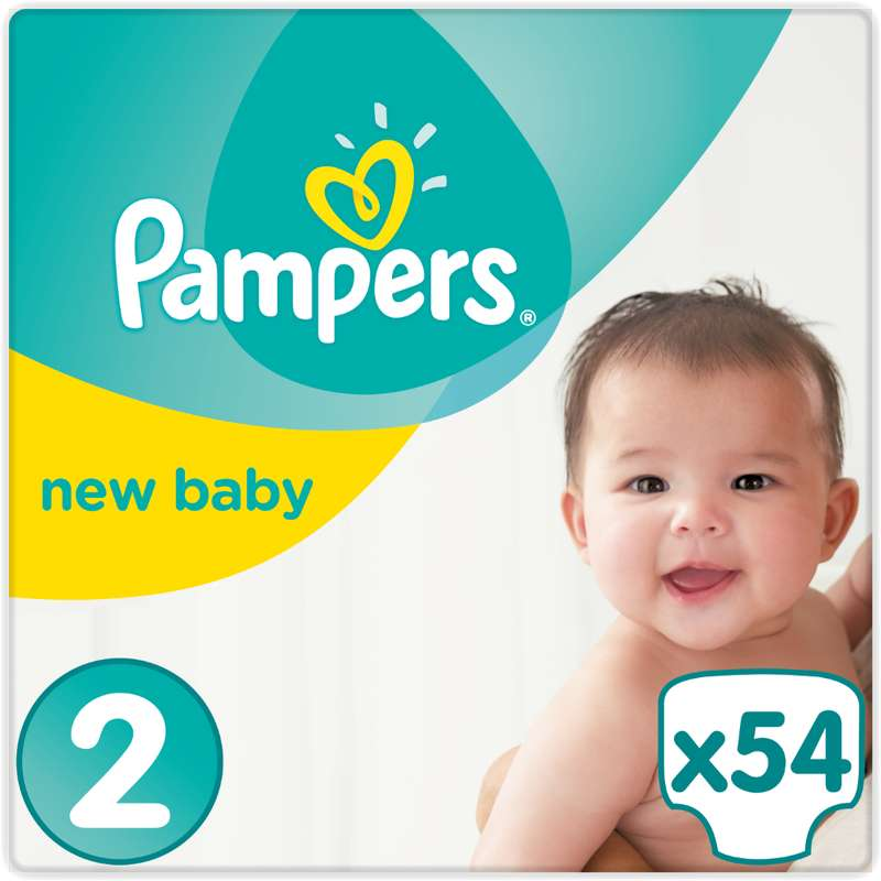 Couches New Baby premium protection T2 / 4-8 kg, Pampers (x 54)