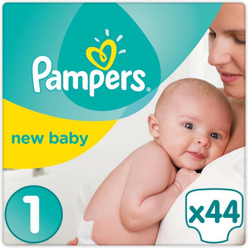 Couches New Baby premium protection T1 / 3-4 kg, Pampers (x 44)