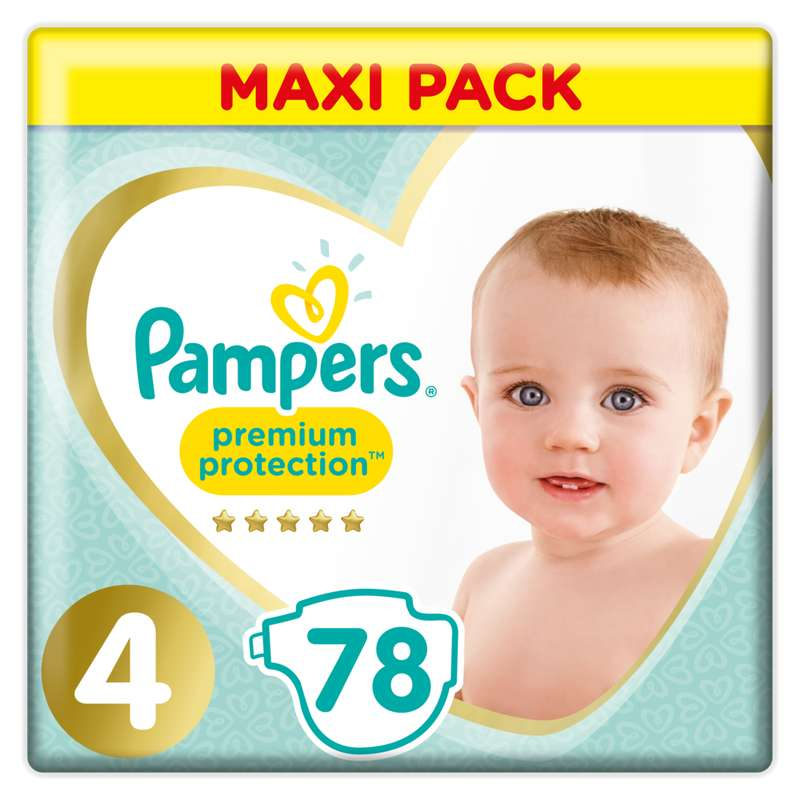 Couches premium protection T4 / 9-14k g, Pampers (x78)