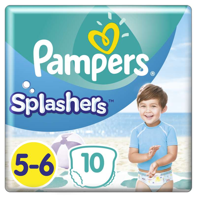 Couches Splashers T5 / 11-16 kg, Pampers (x 10)