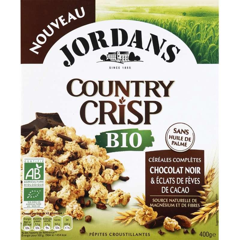Country crisp chocolat noir et éclats de fèves de cacao BIO, Jordan's (400 g)