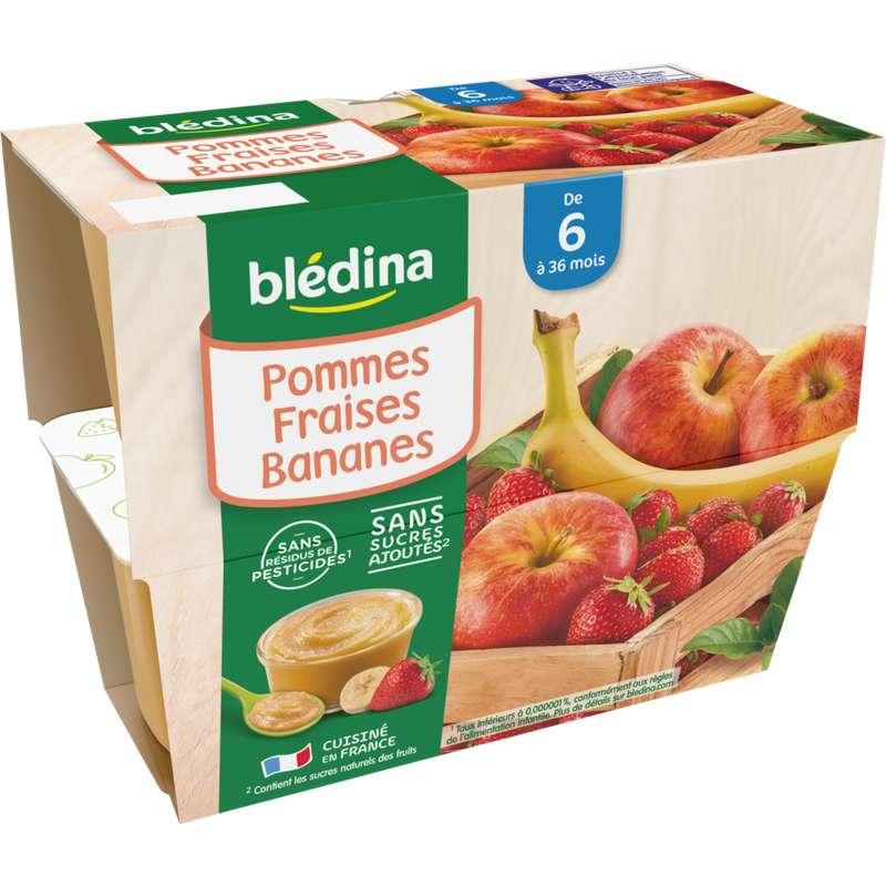 Coupelles 100% fruits pommes, fraises, bananes - dès 6 mois, Blédina (4 x 100 g)