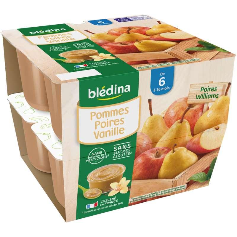 Coupelles 100% fruits pommes, poires, vanille - dès 6 mois, Blédina (8 x 100 g)