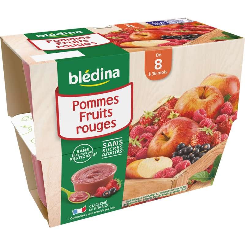 Coupelles 100% fruits pommes, fruits rouges - dès 8 mois, Blédina (4 x 100 g)