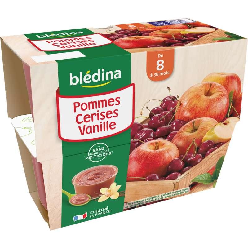 Coupelles 100% fruits pommes, cerises, vanille - dès 8 mois, Blédina (4 x 100 g)
