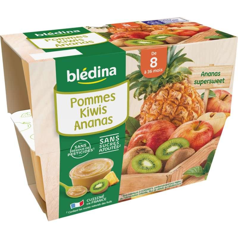 Coupelles 100% fruits pommes, kiwis, ananas - dès 8 mois, Blédina (4 x 100 g)