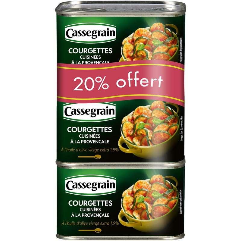 Courgettes cuisinées à la provençale et huile d'olive, Cassegrain LOT DE 2 (3 x 375 g)