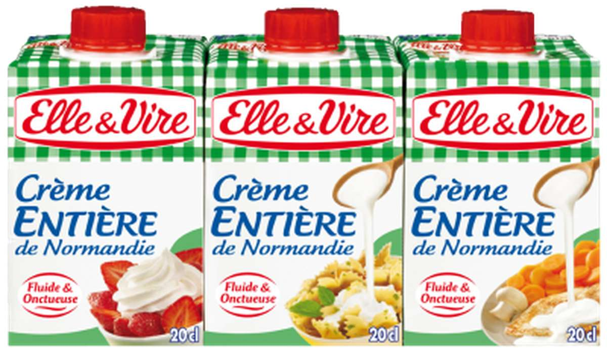 Crème entière de Normandie fluide 30% de MG, Elle & Vire (3 x 20 cl)