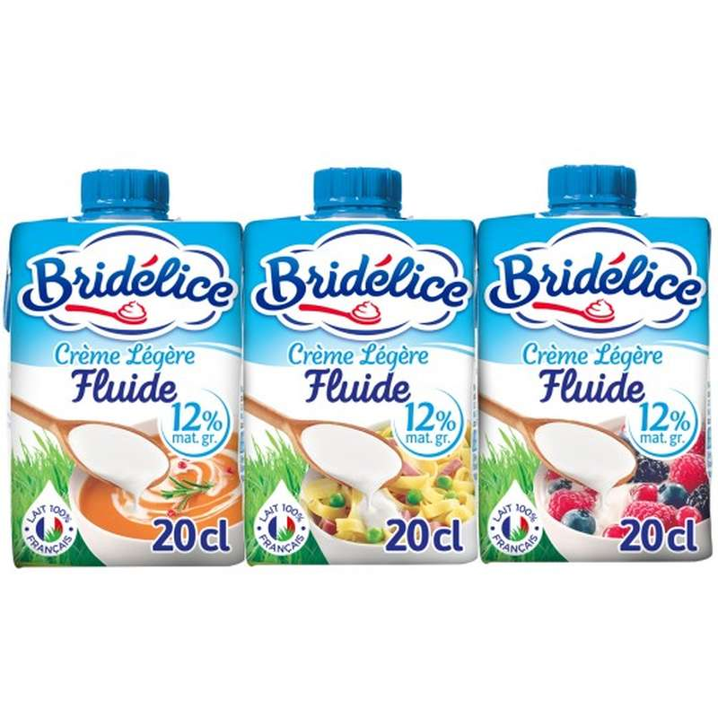 Crème fluide légère 12% MG, Bridélice (3 x 20 cl)