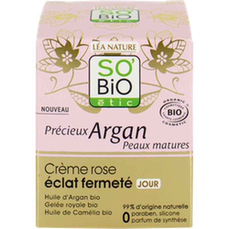 Crème de jour rose éclat fermeté Précieux Argan BIO, So'Bio Etic (50 ml)
