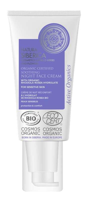 Crème de nuit réconfort peaux sensibles à la Rhodiola Rosea BIO, Natura Siberica (50ml)