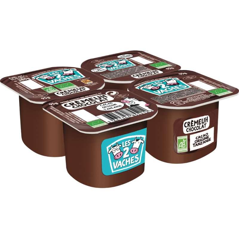 Crème dessert BIO au chocolat, Les 2 Vaches (4 x 95 g)