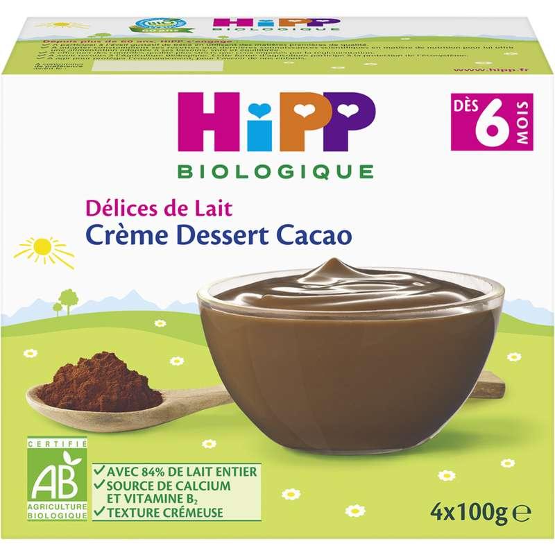 Délices de lait crème dessert cacao BIO - dès 6 mois, Hipp (4 x 100 g)
