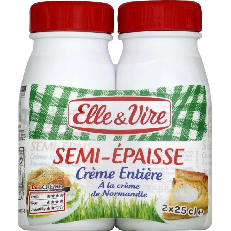 Crème entière semi épaisse 30% MG, Elle & Vire (2 x 25 cl)