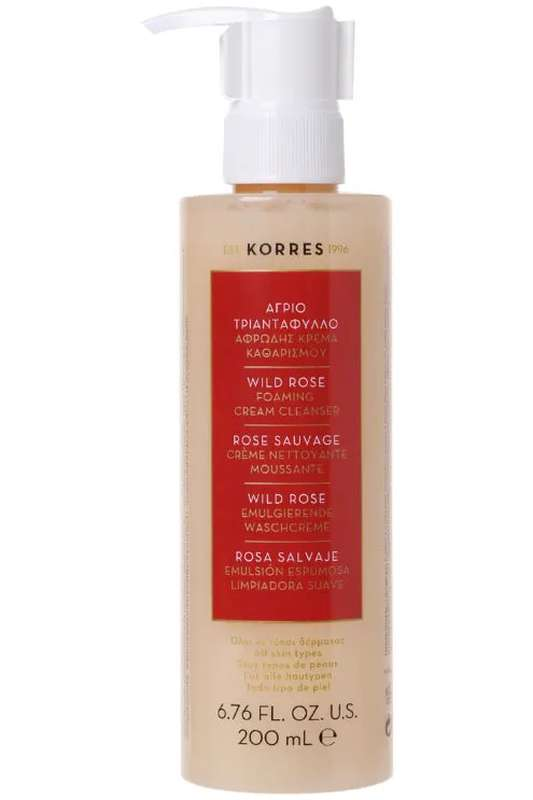 Crème moussante nettoyante, visage & yeux, Rose Sauvage, Korres (200 ml)