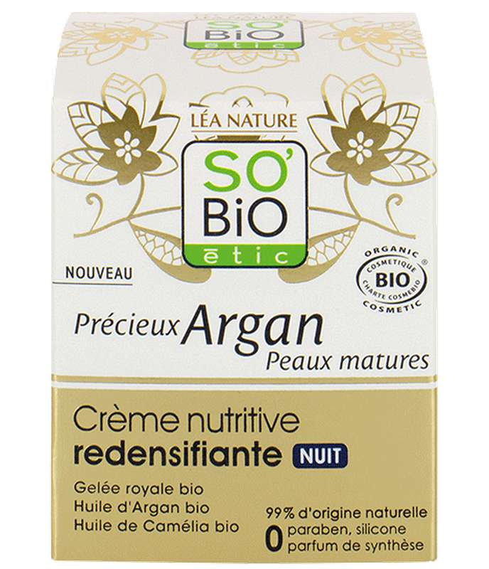 Crème de nuit nutritive redensifiante Précieux Argan BIO, So'Bio Etic (50 ml)