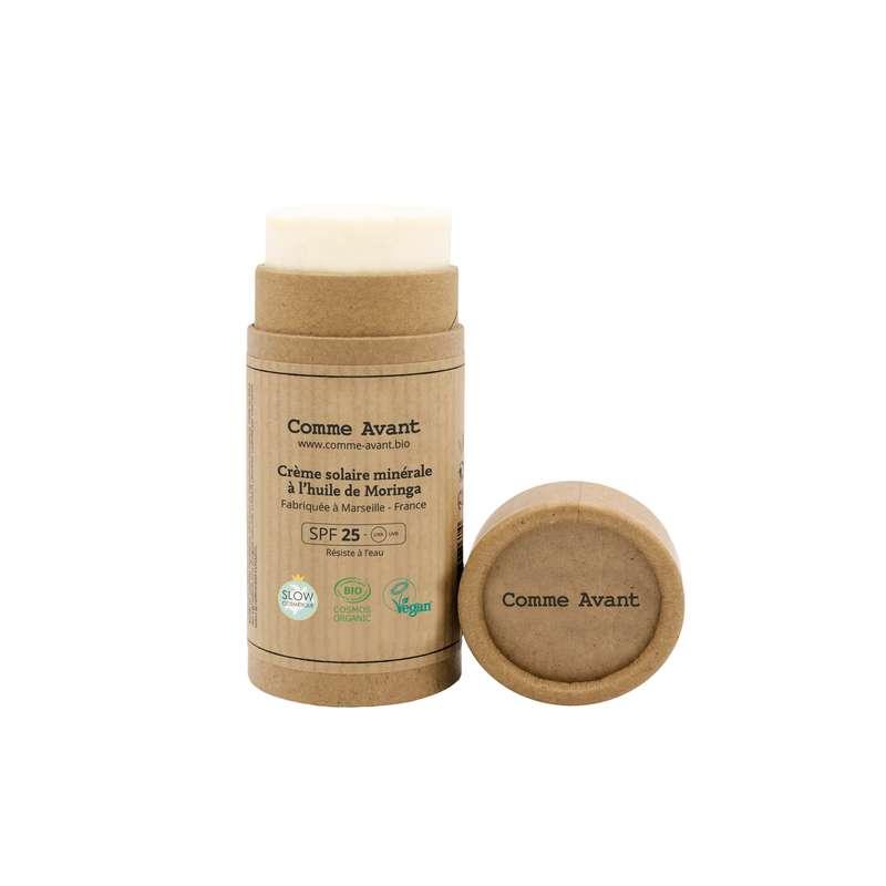 Crème solaire minérale solide à l'huile de Moringa BIO, Comme Avant (80 g)