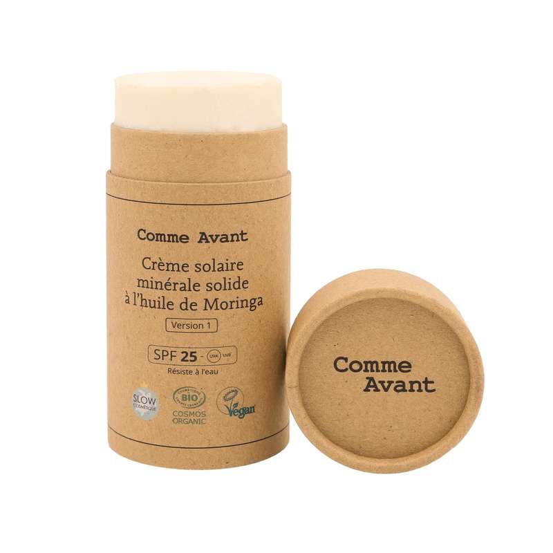 Crème solaire minérale solide à l'huile de Moringa vegan BIO, Comme Avant (80 g)