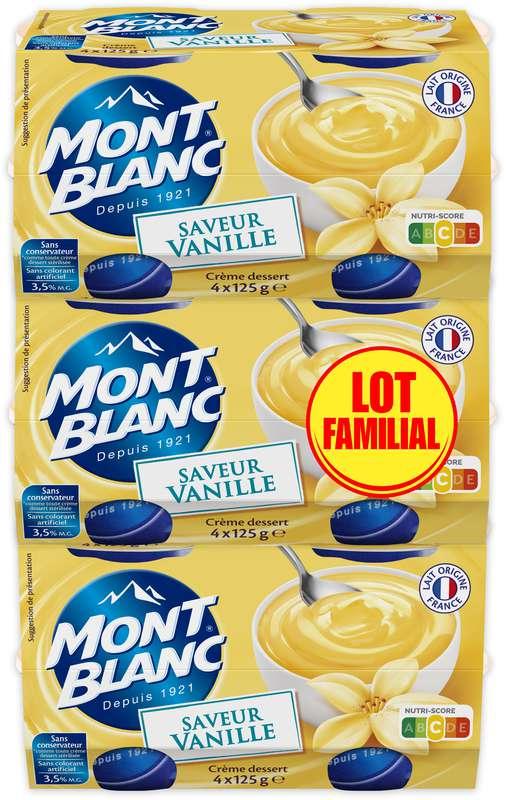 Crèmes dessert vanille, Mont blanc (LOT FAMILIAL 3 PACKS x 4 x 125 g)
