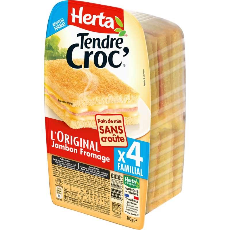 Croque Monsieur Tendre Croc' jambon fromage sans croûte, Herta (x 4, 400 g)