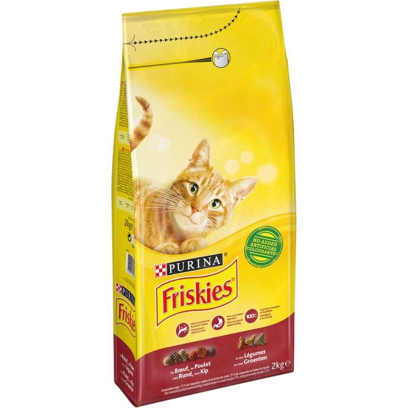 Croquettes pour chat adulte au boeuf, poulet et légumes, Friskies (2 kg)