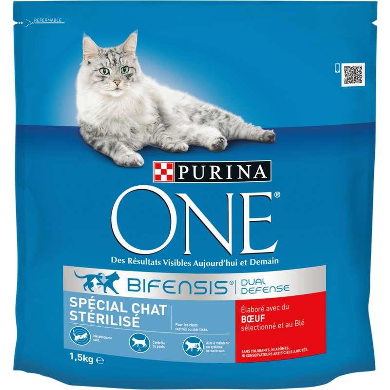 Croquettes pour chat adulte stérilisé au boeuf et au blé, Purina One (1.5 kg)