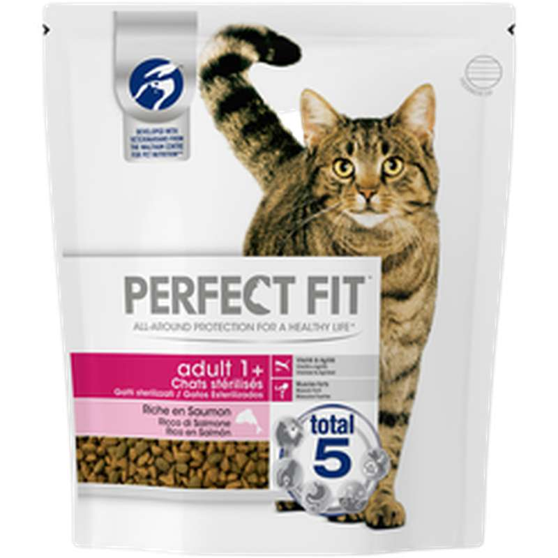 Croquettes pour chat adulte stérilisé au saumon, Perfect Fit (1,4 Kg)