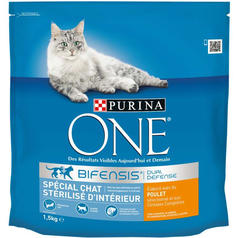 Croquettes pour chats adulte stérilisés d'intérieur au poulet, Purina One (1.5 kg)