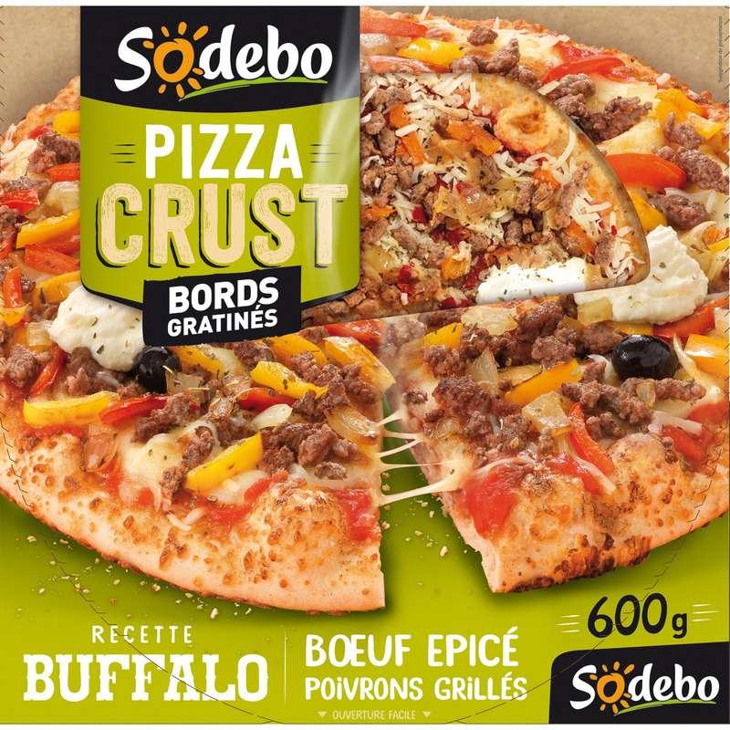 """Pizza """"Crust"""" Buffalo boeuf épicé et poivrons grillés, Sodebo (600 g)"""
