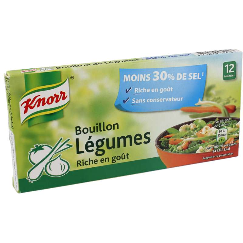 Bouillon de légumes réduit en sel, Knorr (x 12, 109 g)