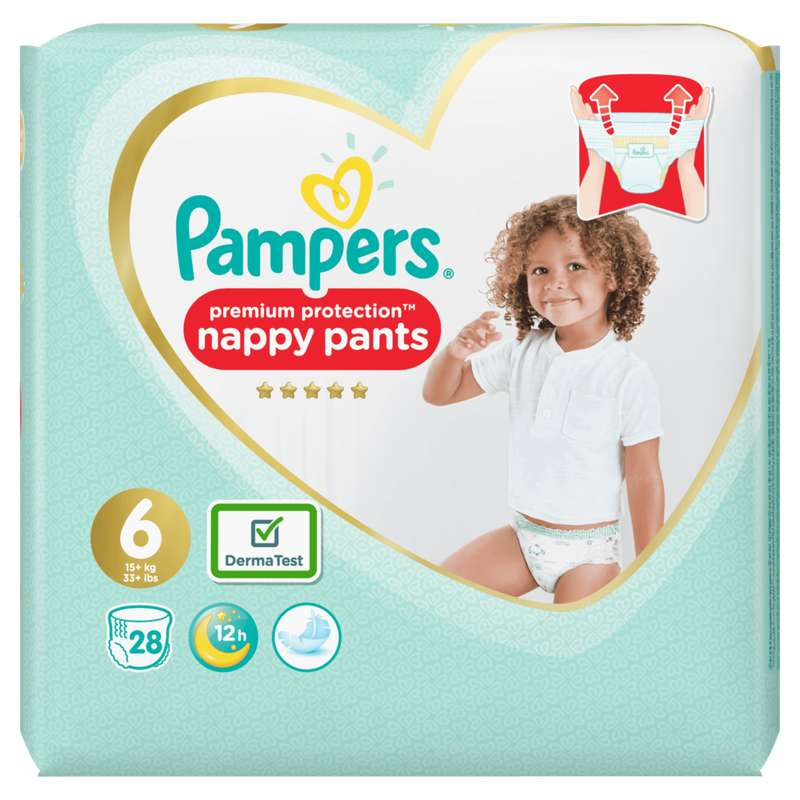 Couches/culottes premium protection nappy pants T6 / 13-18 kg, Pampers (x 28)