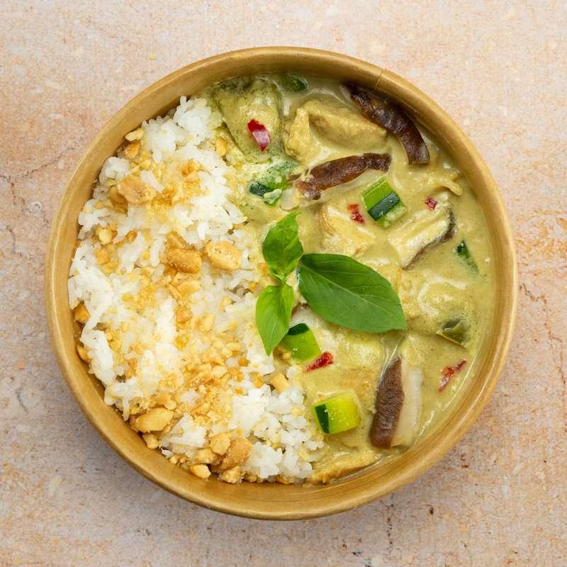 Curry vert de poulet fermier, riz thaï (350 g)