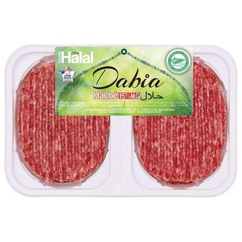 Steak haché pur boeuf 15% MG Halal, Dabia (2 x 125 g)