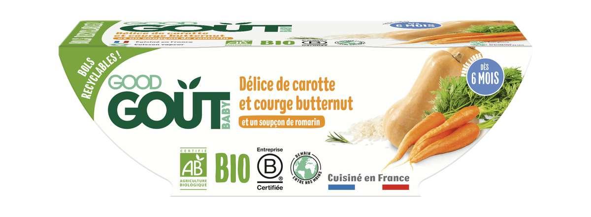 Délice de carotte et courge butternut BIO - dès 6 mois, Good Goût (2 x 190 g)