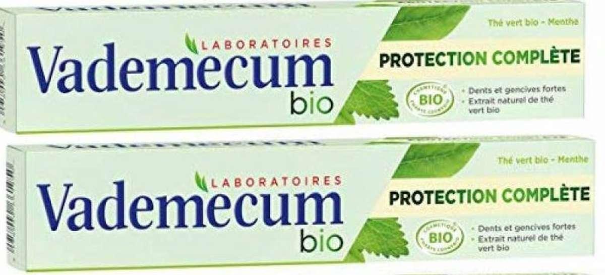 Dentifrice protection complète menthe/thé vert BIO, Vademecum LOT DE 2 (2 x 75 ml)