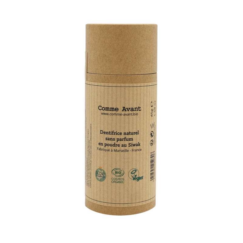 Dentifrice sans parfum en poudre de Siwak BIO, Comme Avant (45 g)