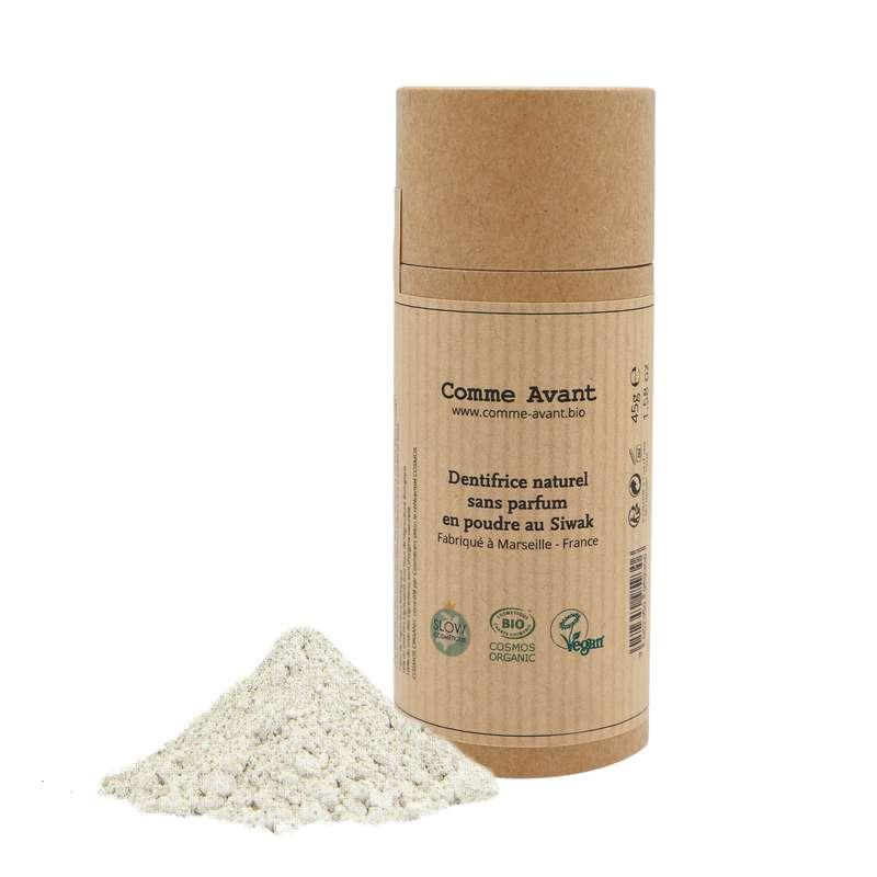 Dentifrice sans parfum en poudre de Siwak vegan BIO, Comme Avant (45 g)