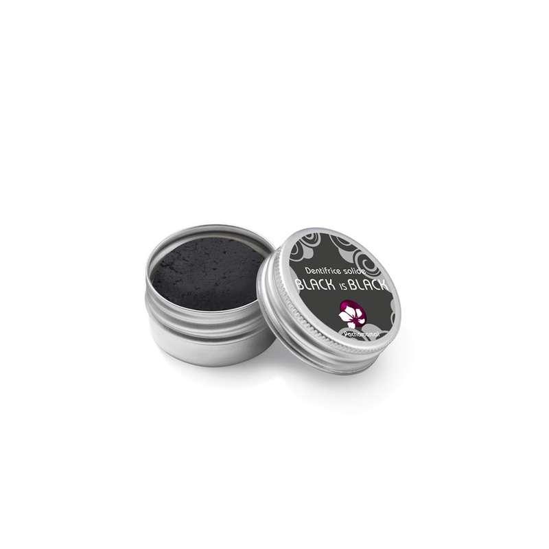 Dentifrice solide au charbon Black is black boîte métal, Pachamamaï (20 g)
