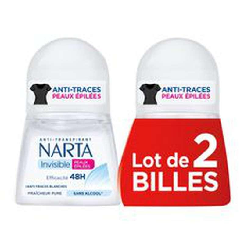 Déodorant bille Invisible peaux épilées 48h, Narta LOT DE 2 (2 x 50 ml)