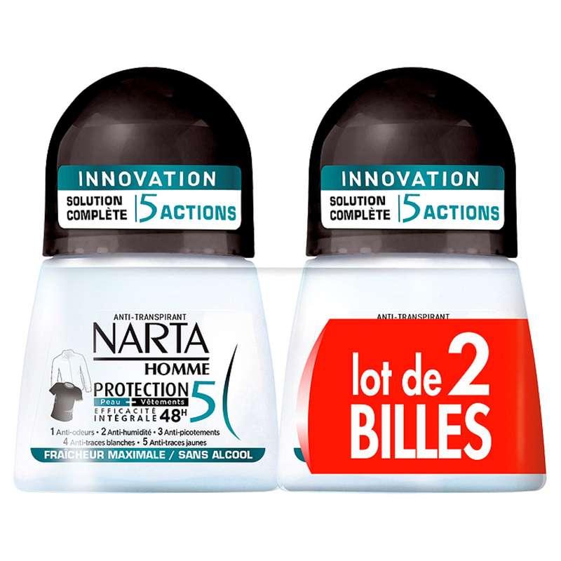 Déodorant homme protection 5 fraîcheur, Narta LOT DE 2 (2 x 50 ml)