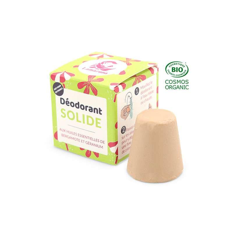 Déodorant solide bergamote et géranium BIO, Lamazuna (30 ml)