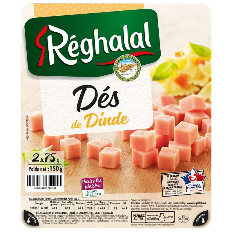 Dés de dinde Halal, Reghalal (150 g)