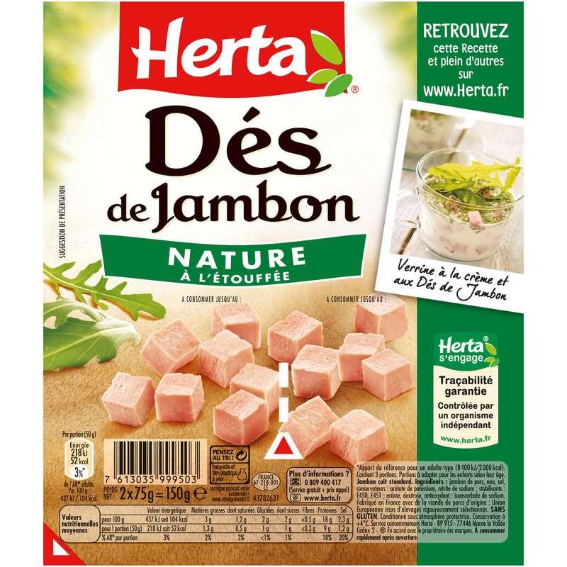 Dés de Jambon à l'étouffée, Herta (2 x 75 g)