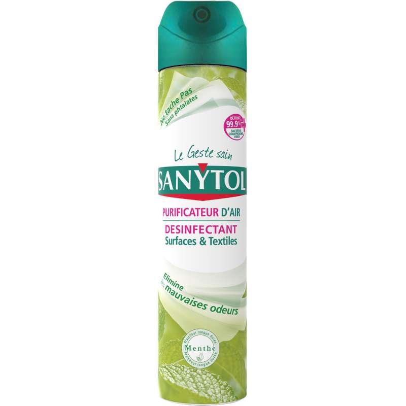 Purificateur d'air, désinfectant surfaces et textiles Menthe, Sanytol (300 ml)