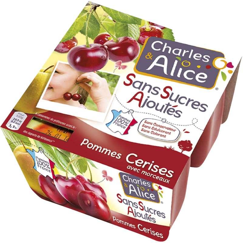 Compote sans sucre ajouté pomme cerise, Charles & Alice (4 x 97 g)