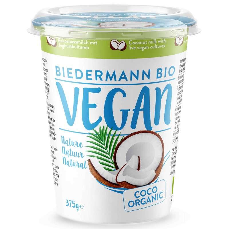Dessert brassé fermenté nature au lait de coco BIO, Biedermann (375 g)