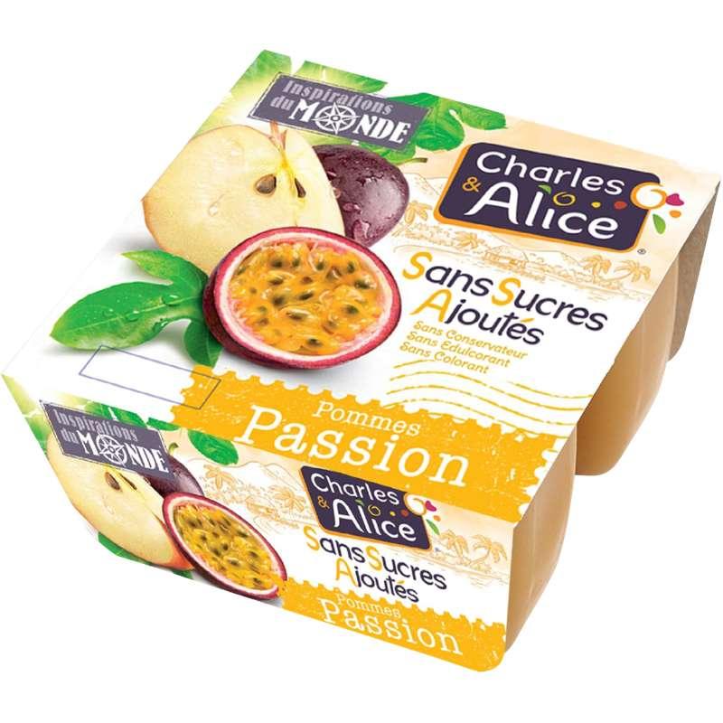 Compote pomme passion sans sucre ajouté, Charles & Alice (4 x 97 g)