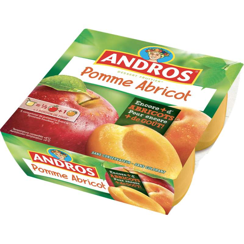 Compote pomme/abricot nouvelle recette, Andros (4 x 100 g)